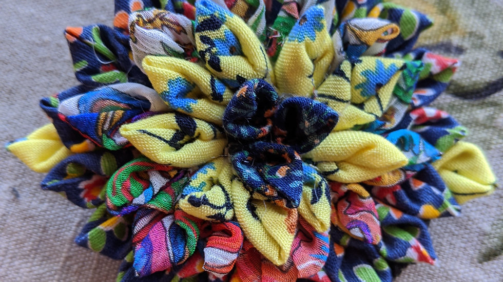 Dahlia fabric flower brooch made with upcycled vintage fabrics
