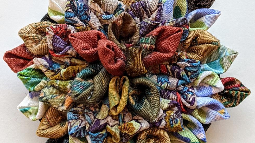 Dahlia fabric flower brooch