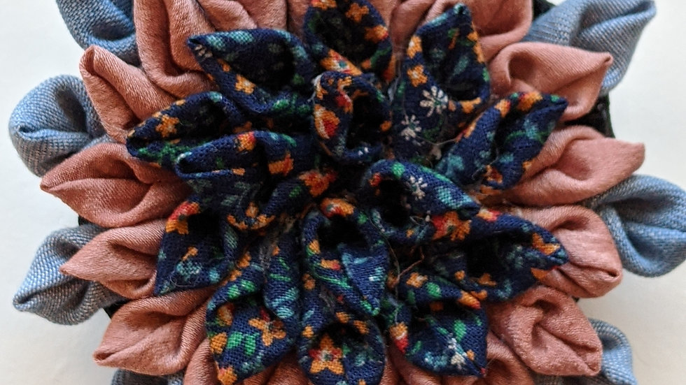 Dahlia fabric flower brooch