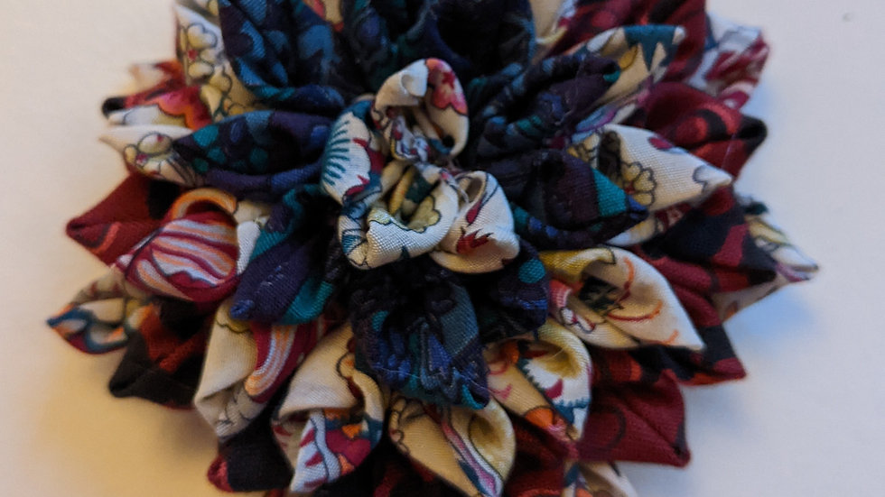 Dahlia fabric flower brooch made with upcycled vintage fabric