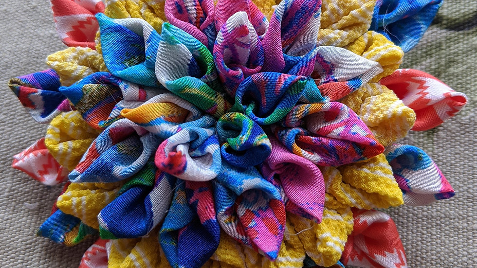 Gorgeous Dahlia fabric flower brooch made with upcycled Liberty fabric