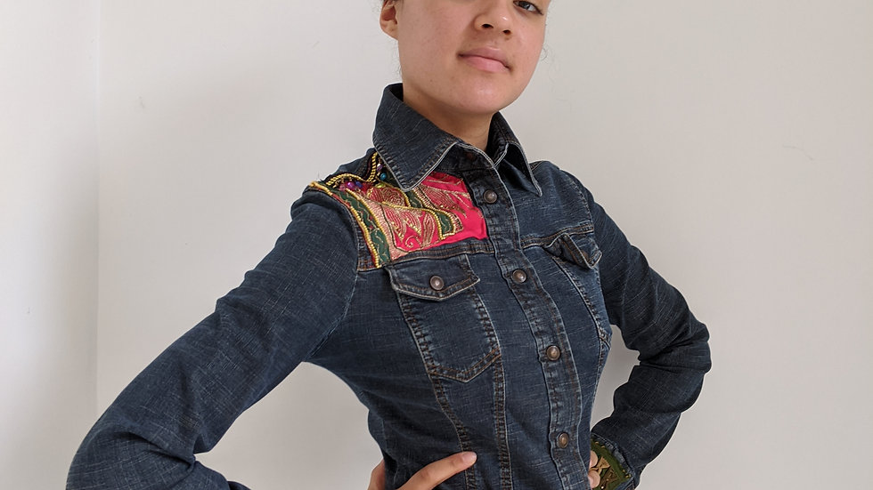Stretchy denim jacket fits size 10/12 with embellishments and beading SOLD