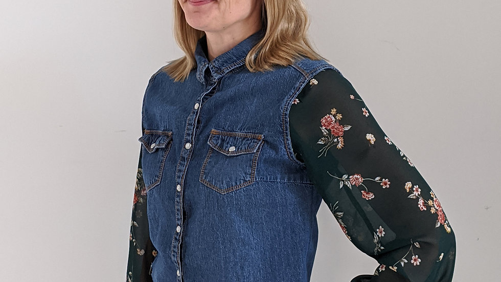Upcycled denim cropped shirt with vintage sleeves size 12