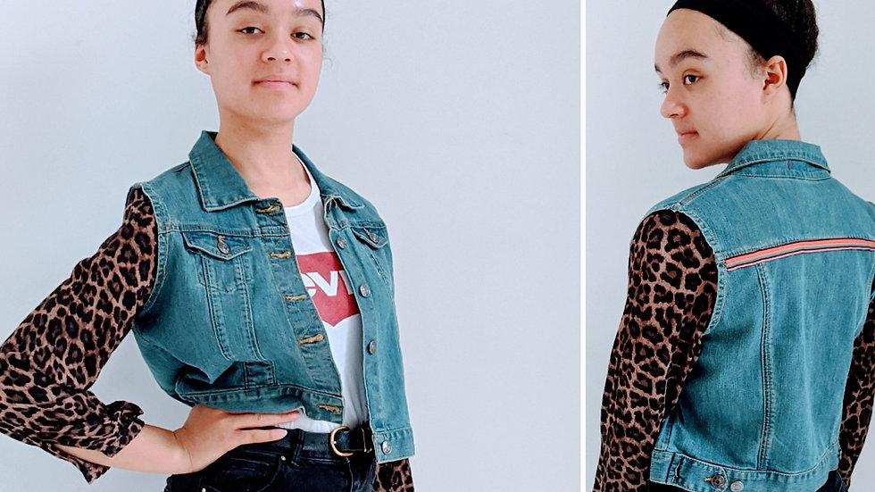 Upcycled denim jacket size 12