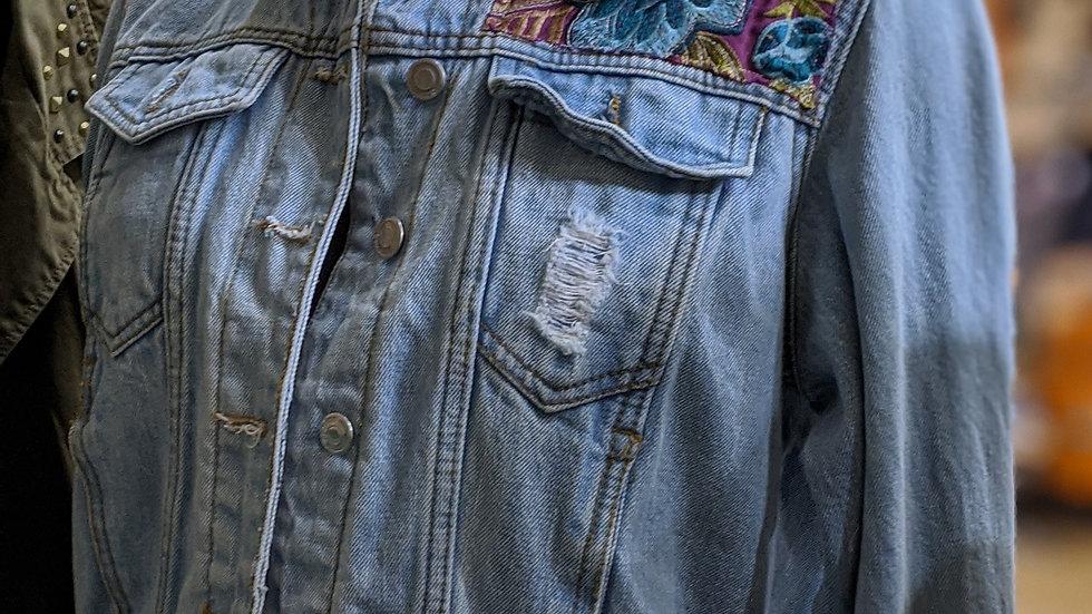 Fur collar reworked denim jacket size 12