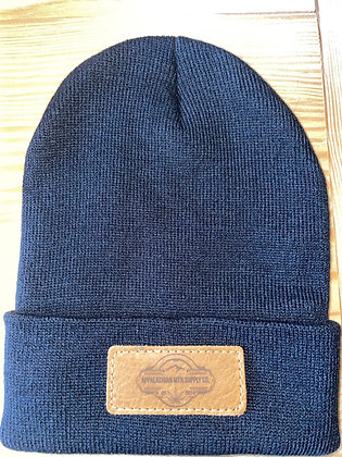 Beanie with Leather Logo