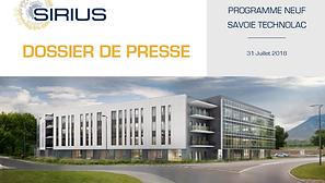 Dossier de presse SIRIUS Savoie Technolac