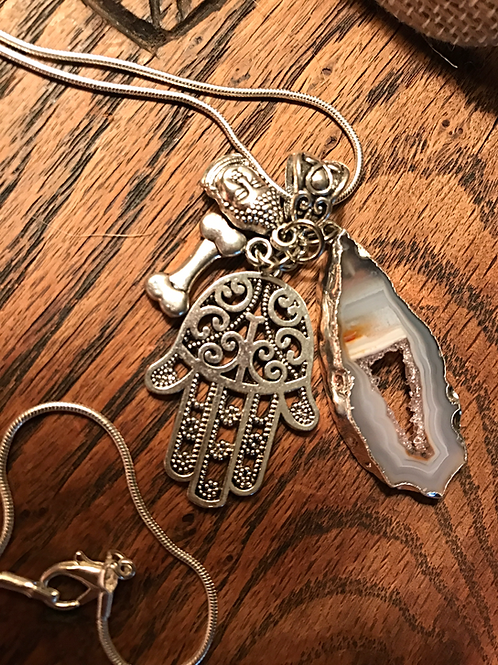Handmade Silver Plated Sliced Agate Charm Necklace