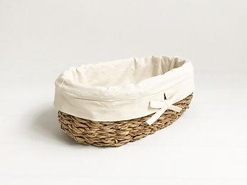 Keten Astarlı Oval Ekmek Sepeti