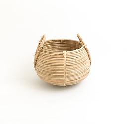 Kulplu Bombeli Doğal Bambu Saksılık