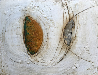 Remnants III+IV Diptych Encaustic and Resin 11x28 $1,250