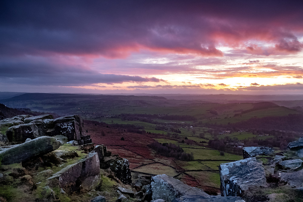 FujiXplorer Curbar Edge sunset