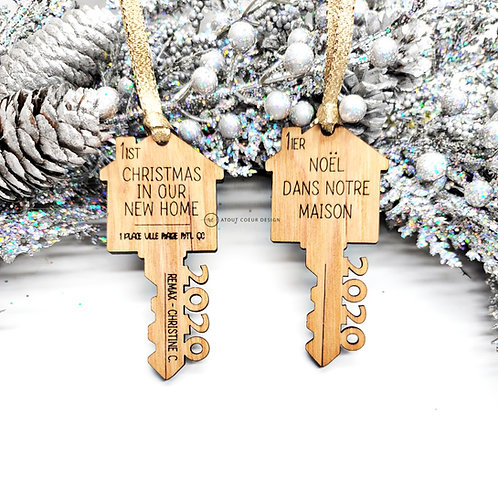 Wooden Ornements Christmas, realtor,  1st home,  1er maison