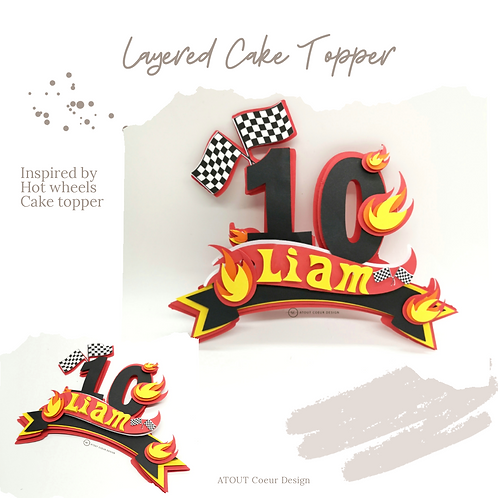 Personalized inspired hot wheels red orange cake topper layered, race car track