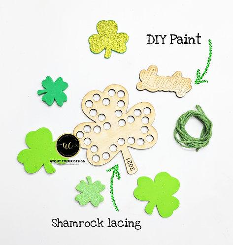 Colouring shamrock, lacing, Personalized,  activity, DIY paint