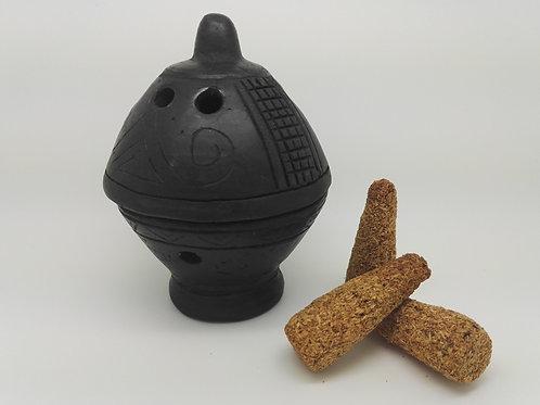 Brûleur Inca Coupe Noire + 3 cônes naturel de Palo Santo