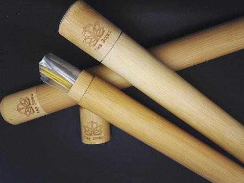 Elégant tube bambou naturel avec encens ROMARIN