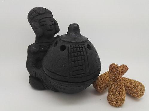 Brûleur Inca Homme Noir+ 6 cônes naturel de Palo Santo