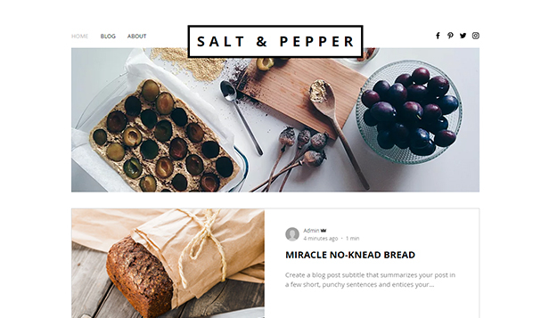 Personligt website templates – Matblogg