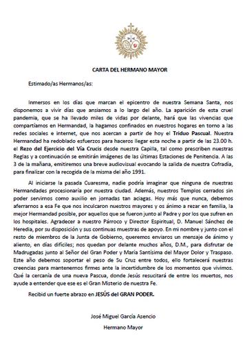 Carta del Hermano Mayor