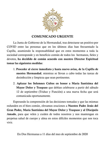 COMUNICADO URGENTE: Cierre de Capilla