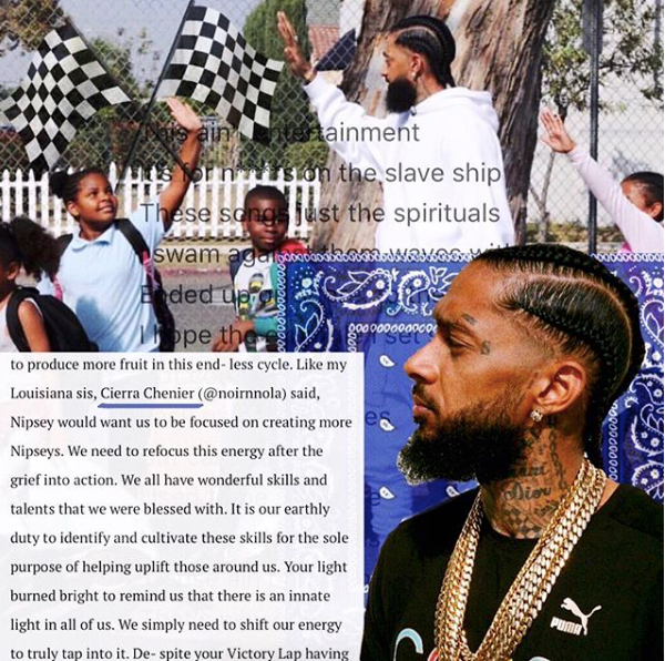 quoted in 'hussle (and motivate): an open letter to nipsey