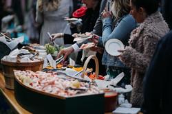 reception buffet w people