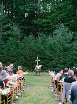 Wedding ceremony venue in the woods