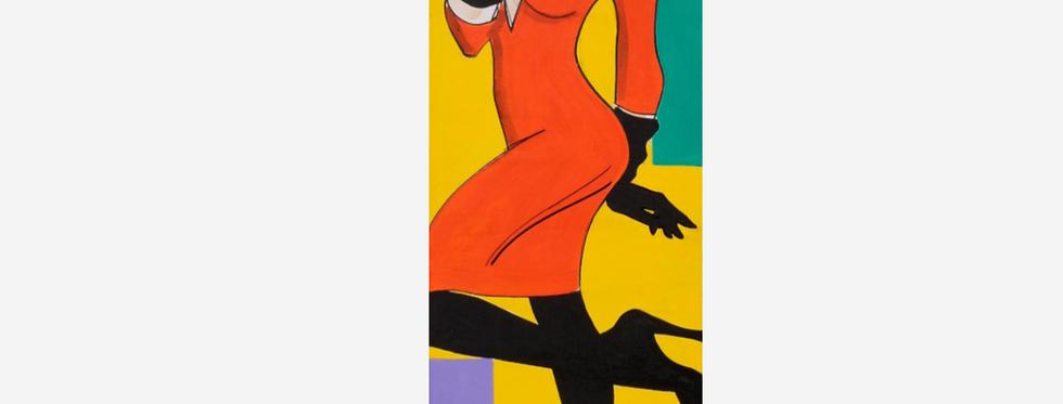 """30x90cm, Akryl på duk, """"Vamp i orange"""""""