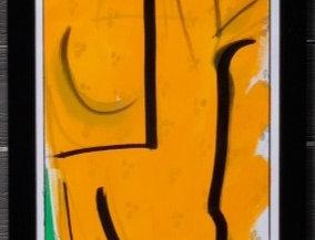 "28x180 cm, Akryl på duk, ""Yellow"""