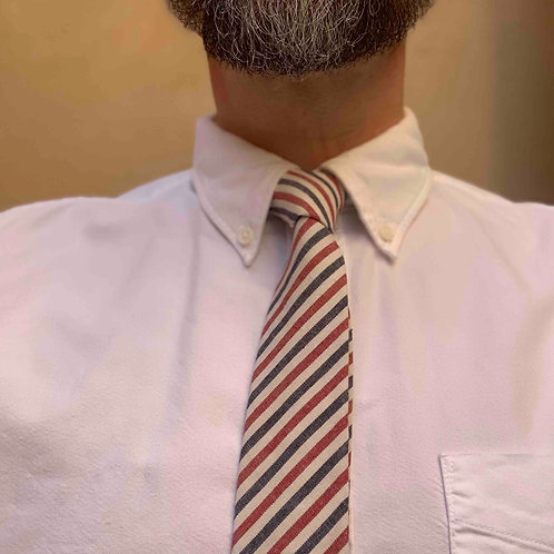 Cotton tie, red charchoal  and off white