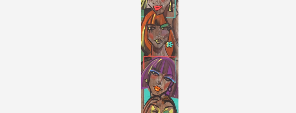 """19x120 cm, Akryl på planka (trä), """"5 Masker"""""""