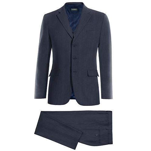 Linen suit, 3 button with a high buttoned waistcoat