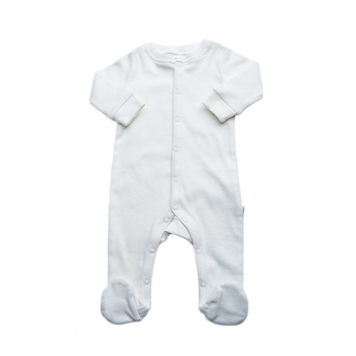 Organic Ribbed Cotton Baby Jumpsuit Cosy White