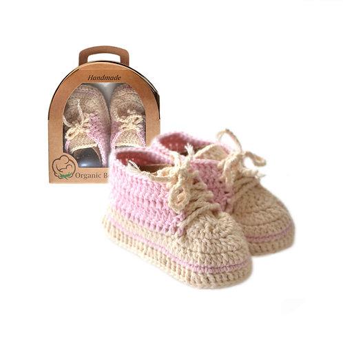 Organic cotton handmade crochet baby sport shoes pink