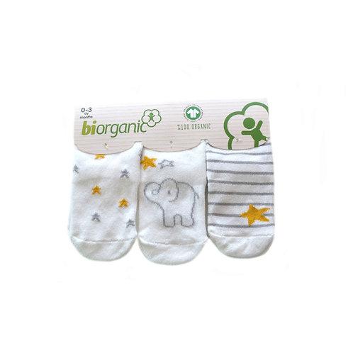 Elephant 3-pack organic cotton socks