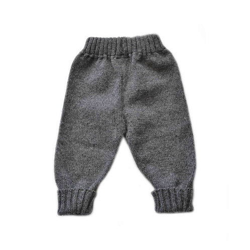 Organic merino wool hand knit baby pants gray