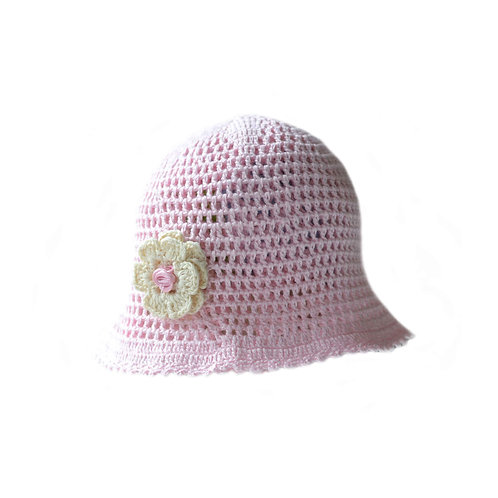 Organic cotton hand knit baby girl spring hat