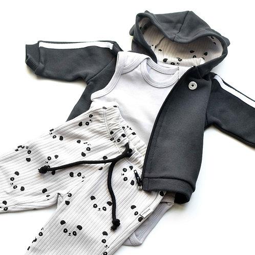 Giacca e pantaloni da neonato con cappuccio Panda in cotone biologico