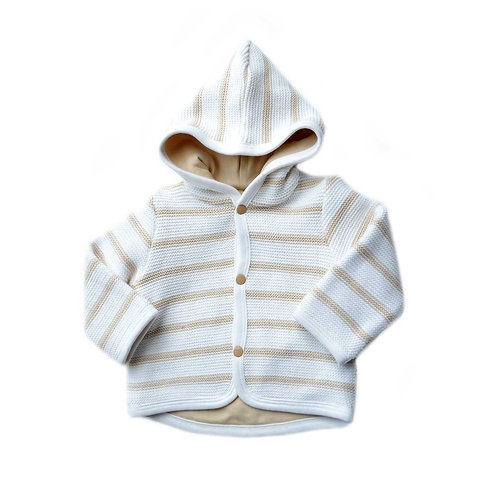 Organic Cotton Baby Cardigan Hooded Natural