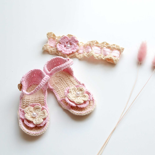 Organic Cotton Hand Knit Baby Hair Band & Sandals