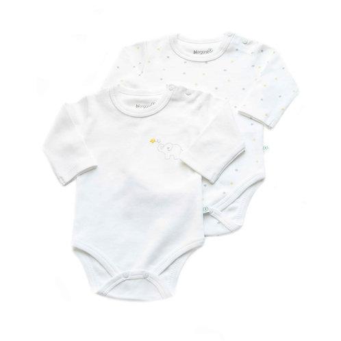 2-pack Organic Cotton Baby Bodysuit Long Sleeve Elephant