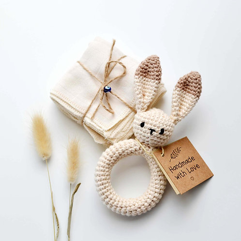 Organic Cotton Bunny Teether & Muslin Burp Cloth Set