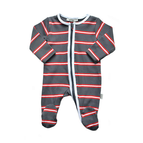 Organic Ribbed Cotton Stripe Baby Jumpsuit