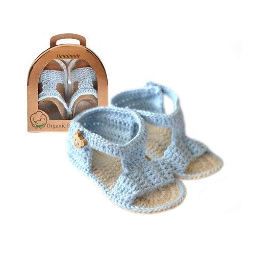 Organic cotton handmade crochet baby sandals (blue)