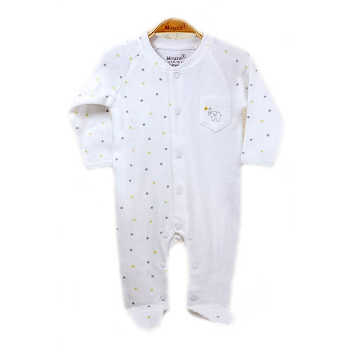 Organic cotton baby jumpsuit with elephant embroidery
