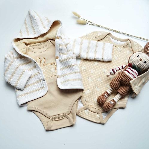 Set da 2 pezzi di cardigan per bebè in cotone biologico e body con coniglietto