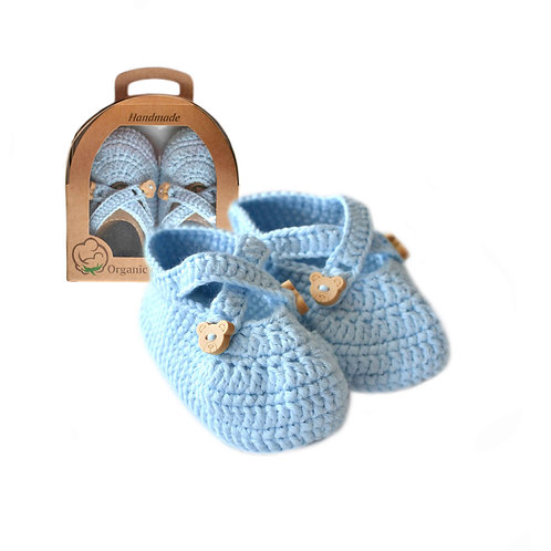 Organic cotton handmade crochet baby shoes with straps blue