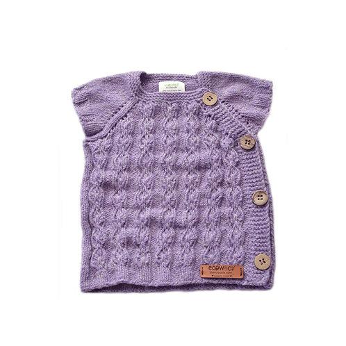Organic merino wool hand knit baby vest lavender