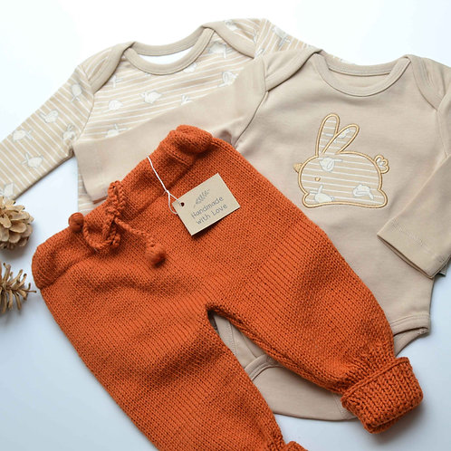 Organic Cotton Hand Knit Baby Pants & Bunny 2-pack Bodysuit Set